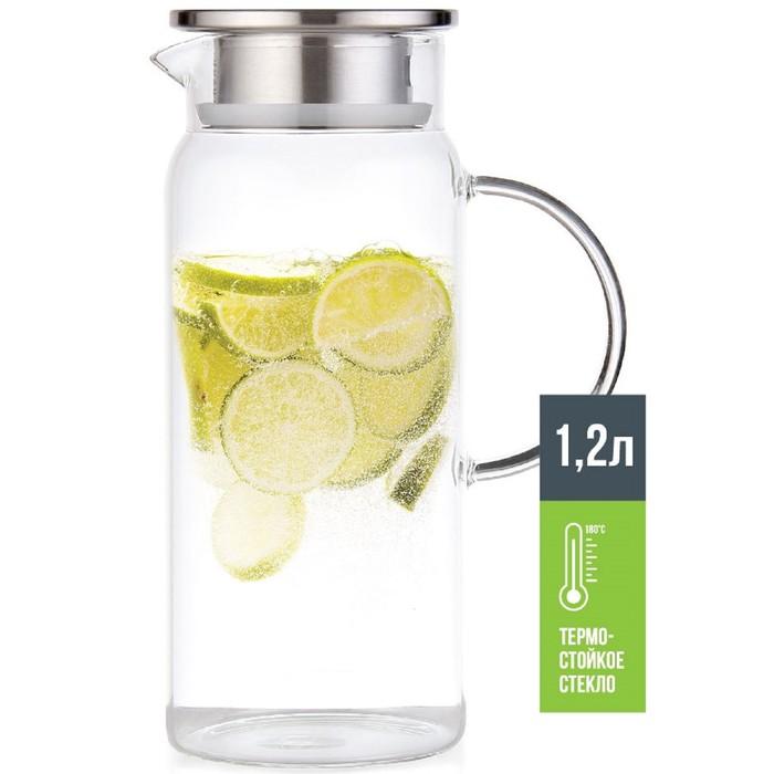 Кувшин для воды 1.2 л, термостойкое стекло