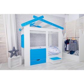 Кровать детская Теремок белый/голубой