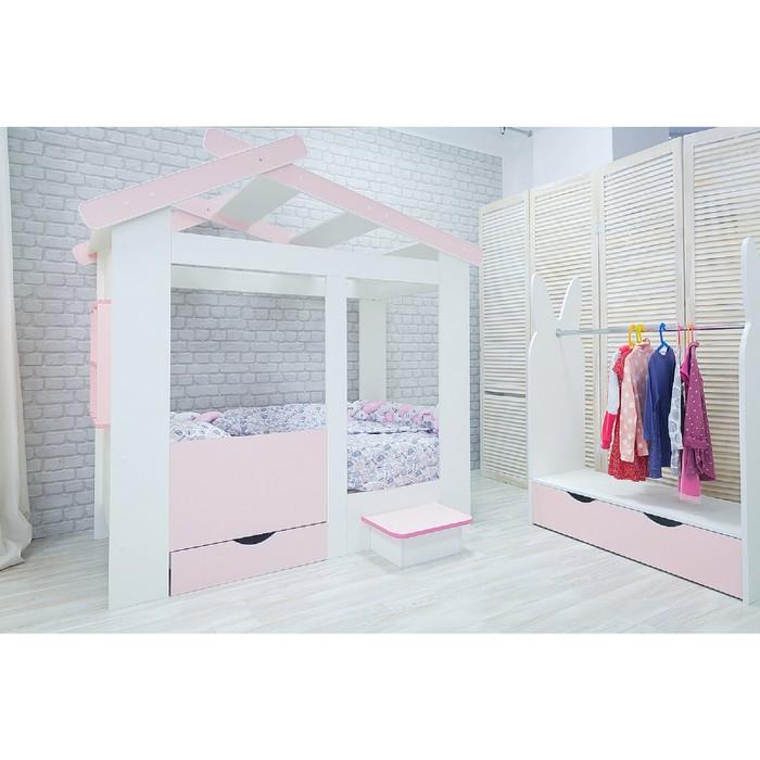 Кровать детская Теремок белый/розовый