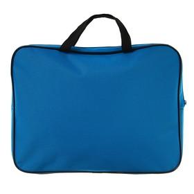 Папка с ручками, текстильная, А4, 350 х 265 х 45 мм, «Оникс», ПМД 2-42, внутренний карман, «Офис», цвет ярко-голубой-чёрный