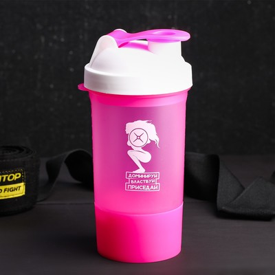"Shaker sports ""Dominate, conquer, squat"", with a bowl under protein 500 ml"