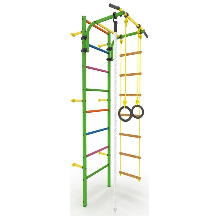 Детский спортивный комплекс «Атлет-2Ц», покрытие ПВХ, цветные ступени, 670 × 870 × 2250 мм, цвет зелёный