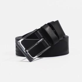 Ремень мужской, ширина - 3,5 см, винт, пряжка металл, цвет чёрный