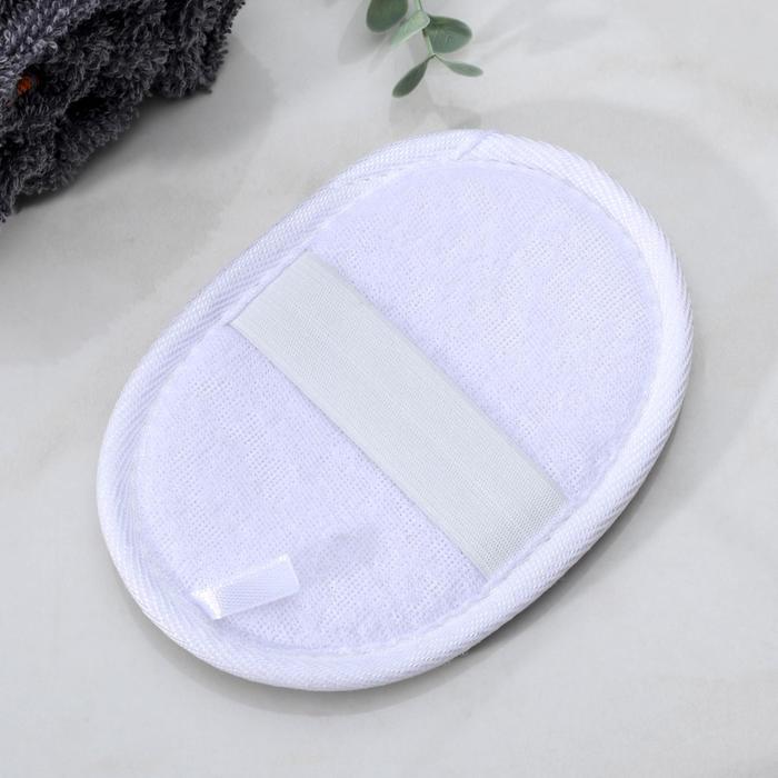 Мочалка для тела овальная с резинкой, цвета МИКС