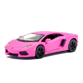 Машина металлическая Lamborghini Matte Series, 1:38, открываются двери, инерция, цвет розовый матовый