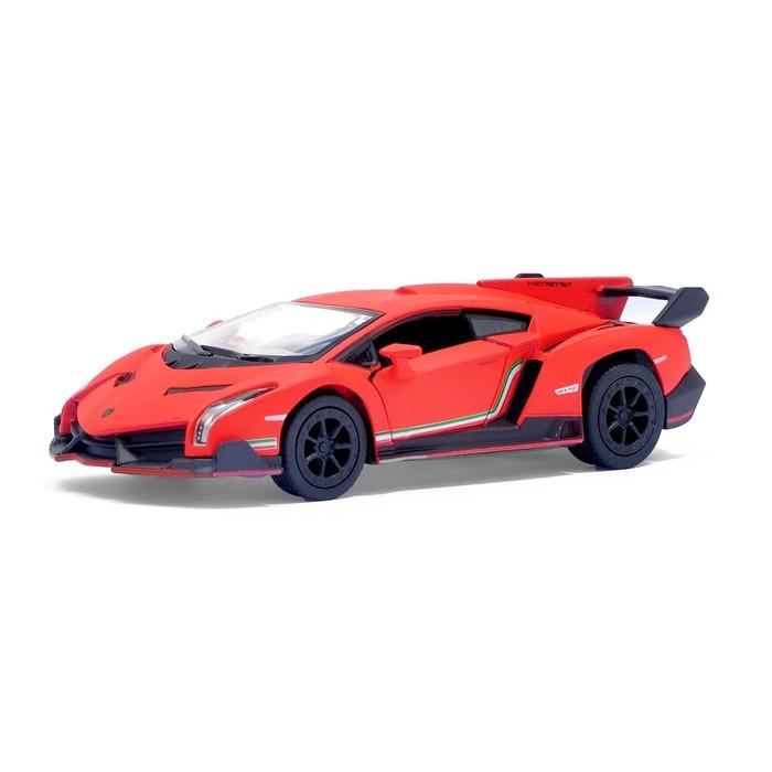 Машина металлическая Lamborghini Matte Series, 1:38, открываются двери, инерция, цвет красный матовый