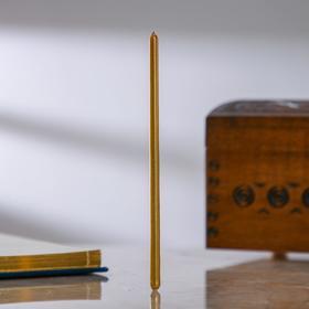 Свечи восковые одночасовые, 5 шт, 0,5×15 см, цвет жёлтый в золоте