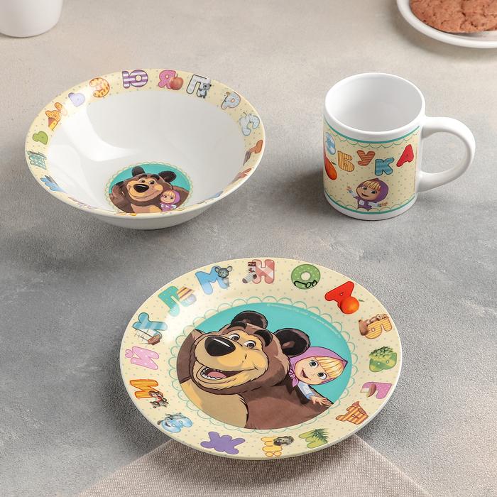 """Набор посуды """"Маша и Медведь. Азбука"""", 3 предмета: кружка 240 мл, миска 18 см, тарелка 19 см"""