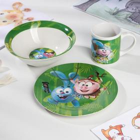 Набор «Смешарики», 3 предмета: миска d=18 см, тарелка d=19 см,кружка 240 мл