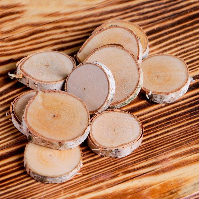 Набор срезов берёзы, диаметр 3,5 см, 10 штук