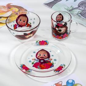 Набор посуды «Маша и Медведь. Малина», 3 предмета: кружка 250 мл, салатник d=13 см, тарелка d=19,5 см