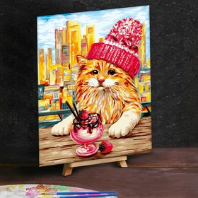 """Painting by numbers on canvas 30*40 """"Red cat in the hat"""""""