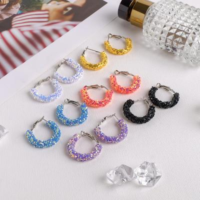 "Hoop earrings ""Bianco"", MIX color in silver"