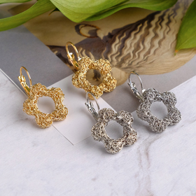 "Metal earrings ""Weave"" flower, MIX color"