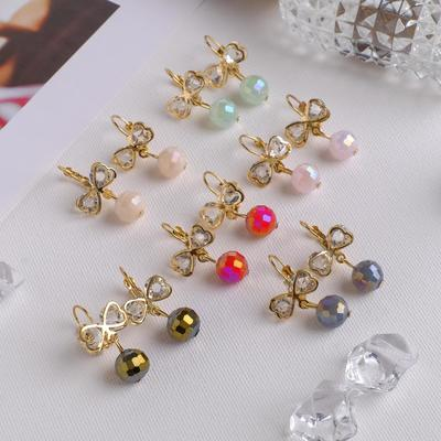 """Earrings """"Bows"""" with a bead, MIX color gold"""