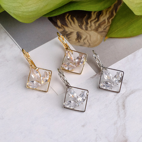 """Earrings with rhinestone """"Petals in diamond"""", MIX color"""