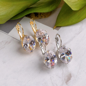 Earrings with rhinestones Blik oval, MIX color