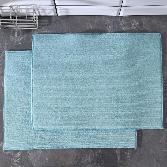 Коврик для сушки посуды 28×51 см, микрофибра, 2 шт, цвет бирюзовый