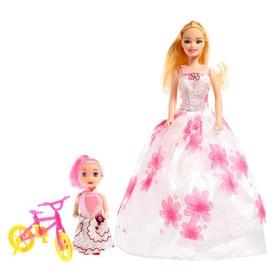 Кукла модель «Оля» с малышкой на велосипеде, МИКС