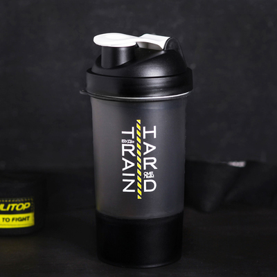 "Shaker sports ""Train hard, be brave"", with a bowl under protein 500 ml"