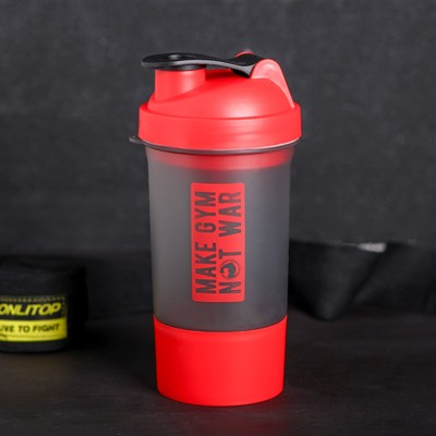 "Shaker sport ""Make GYM, not WAR"", with the bowl under protein 500 ml"