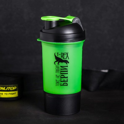 "The sports shaker ""T-REX doesn't like the burpee"" with a bowl under protein 500 ml"