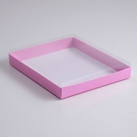A cardboard box 260*210*30 with transparent lid, pulp, purple