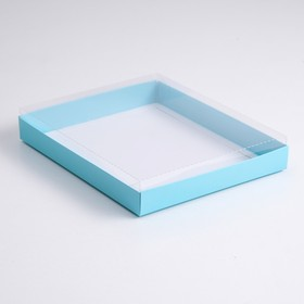 A cardboard box 260*210*30 with transparent lid, cellulose, blue