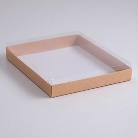 A cardboard box 260*210*30 with transparent lid, pulp, Kraft