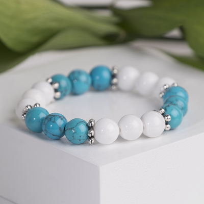 "Bracelet baby ball No. 6 ""agate white turquoise new"""