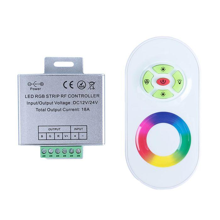 Контроллер Luazon RGB д/модулей/лент, 12/24V, 216W, выс.частотный 2.4ГГц, сенсорн.пульт бел.