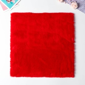 Artificial fur for creativity density 600 g Red 30x30 cm