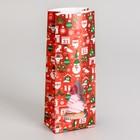 """Пакет бумажный фасовочный """"Новогодний с окном"""", 10 х 6 х 26 см"""