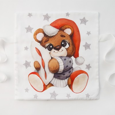 "Pillow case Baby I ""Christmas Bear"" (3) 35*35 cm-1 PCs, satin"