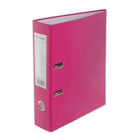 Папка-регистратор А4, 80 мм, PP Lamark, розовый, металлическая окантовка, карман, разобранный