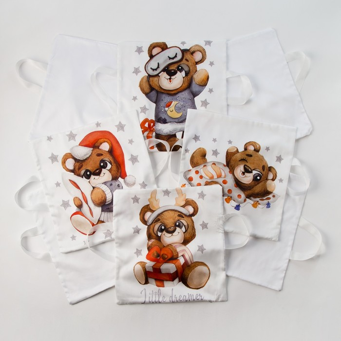Набор наволочек Крошка Я «Мишка» цвет белый 35х35 см -8 шт