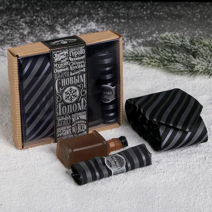 """Подарочный набор (галстук, платок-сигара, фигурное мыло) """"Настоящий мужчина"""" - фото 8873747"""
