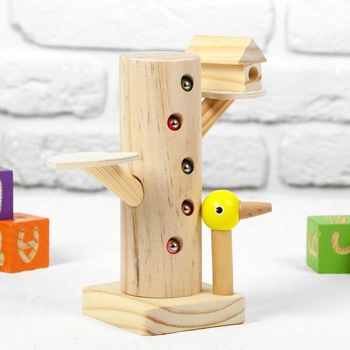 """Развивающая игра """"Достань червячка из дерева"""" 20,5×9×9 см, 10 червячков"""