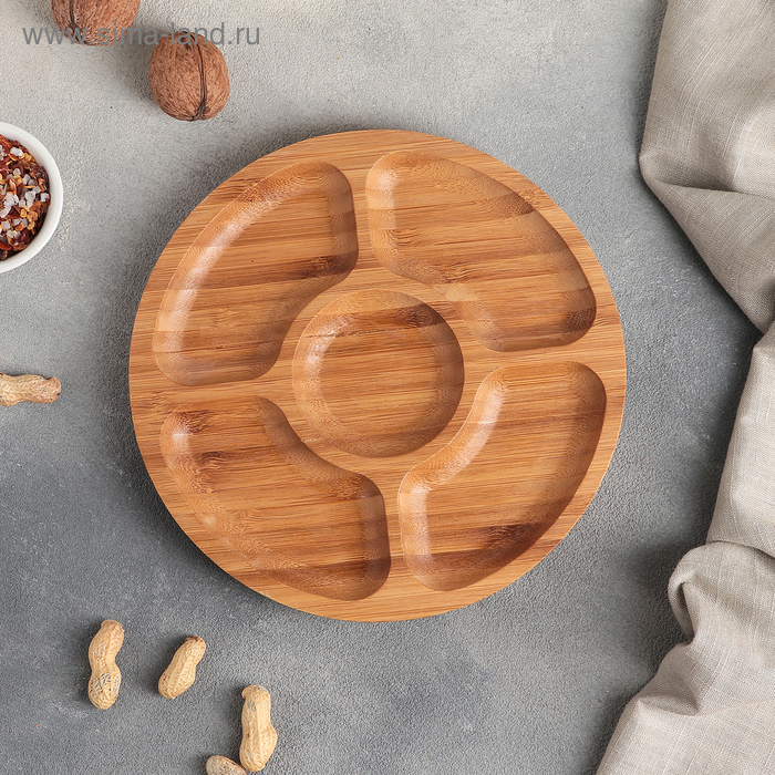 Dish Bamboo,5 sections, 20*20*2 cm, color milk