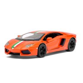 Машина металлическая Lamborghini Aventador LP 700-4, 1:38, открываются двери, инерция, цвет оранжевый