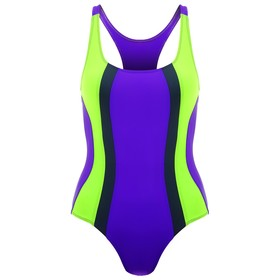 Купальник для плавания сплошной, ярко фиолетовый/неон зеленый/тёмно-серый, размер 30