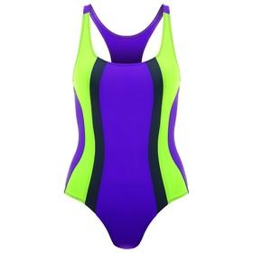 Купальник для плавания сплошной, ярко фиолетовый/неон зеленый/тёмно-серый, размер 34