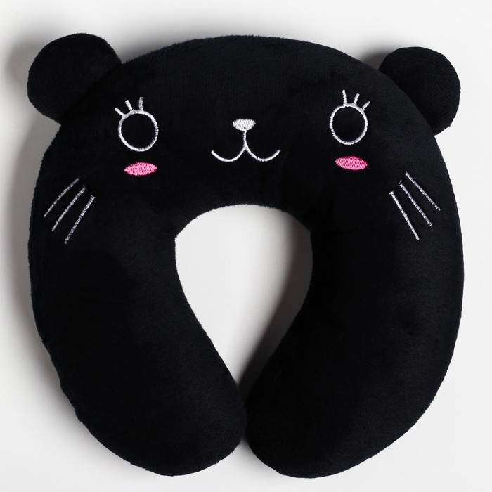 """Детская подушка для путешествий """"Котик"""", цвет черный"""