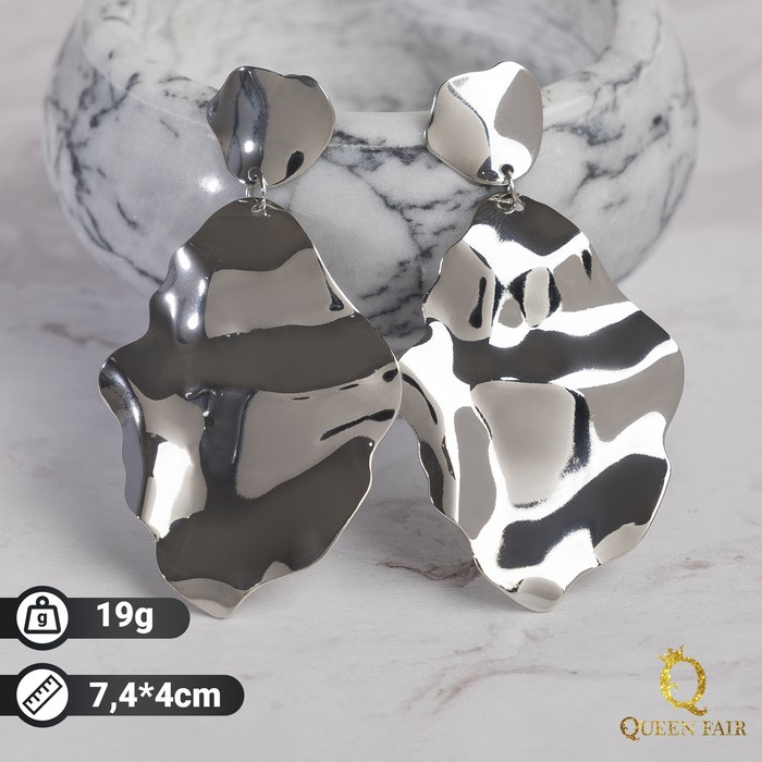 "Серьги металл ""Атмосфера"" кувшинка, цвет серебро"