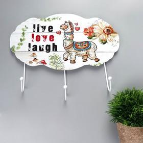"Крючки декоративные дерево ""Лама и цветы"" 22,8х29х4,5 см"