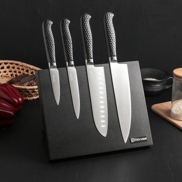 """Набор из 4 кухонных ножей """"RainDrops"""" на магнитной  подставке"""