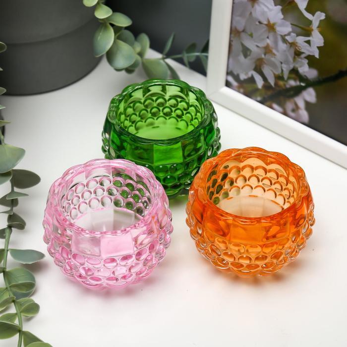 "Подсвечник стекло на 1 свечу ""Пузырьки"" яркие цвета МИКС 6х7,3х7,3 см"