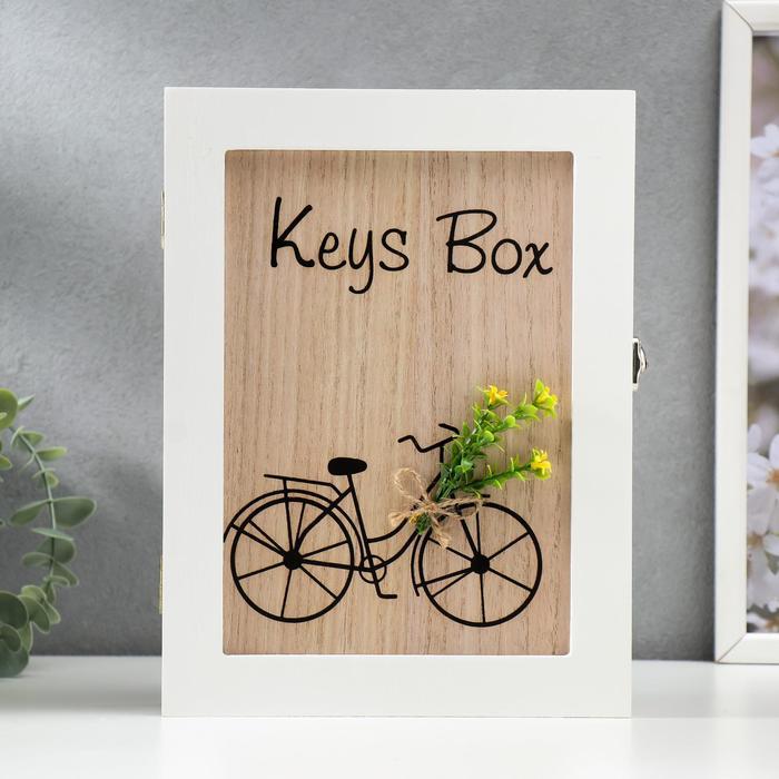 """Ключница дерево 6 крючков """"Велосипед с цветами"""" 26х19,5х5,5 см - фото 833752"""