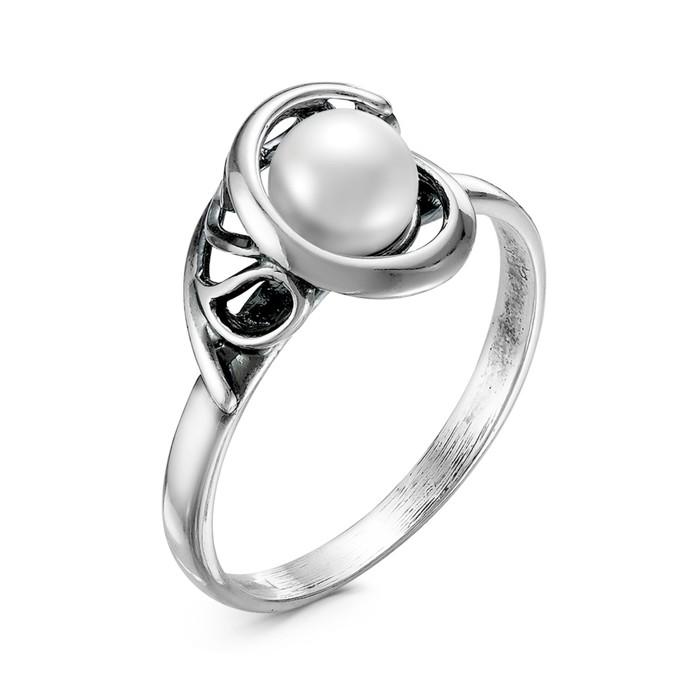 """Кольцо """"Жемчуг"""" меланхолия, посеребрение, цвет белый, 17 размер"""