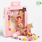 """Подарочный набор: держатель для соски-пустышки и грызунок-прорезыватель  """"Принцесса"""" в наличии - фото 106205519"""
